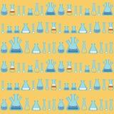 Ein nahtloses Muster mit Reagenzgläsern und Flaschen Lizenzfreie Stockfotografie
