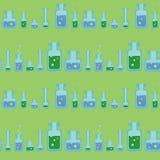 Ein nahtloses Muster mit Reagenzgläsern und Flaschen Stockbild