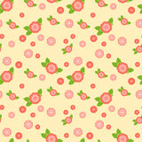 Ein nahtloses Muster mit rosa Blumen von verschiedenen Größen stock abbildung
