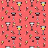Ein nahtloses Muster mit Wein und Cocktails Stockfotos