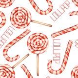 Ein nahtloses süßes Muster mit dem Aquarelllutscher (Zuckerstange) Von Hand gezeichnet gemalt auf einem weißen Hintergrund Stockbilder