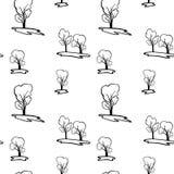 Ein nahtloses Vektormuster mit sich wiederholenden Bäumen Stockfotos