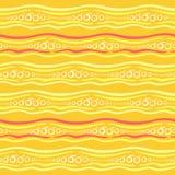 Ein nahtloses Vektormuster mit Streifen, Kreisen und stilisierten Orangen Lizenzfreies Stockbild