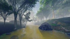 Ein Nebel im Fluss und der Wald beruhigen so Stockfotografie