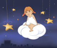 Ein netter kleiner Engel Eine Mädchenkarikatur Lizenzfreie Stockbilder