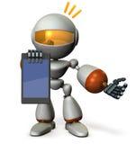 Ein netter Roboter legt Informationen über den Tablet-PC vor Lizenzfreies Stockbild