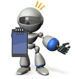 Ein netter Roboter legt Informationen über den Tablet-PC vor Lizenzfreie Stockfotografie