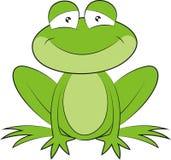 Ein nettes grünes Karikaturfroschsitzen beim Lächeln
