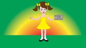Ein nettes kleines hübsches Mädchen, das eine Geldkarte in ihrer Hand hält Lizenzfreies Stockbild