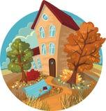 Ein nettes kleines Haus, Herbstbäume und Bänke in a Stockbilder