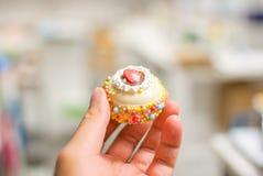 Ein nettes Modell des kleinen Kuchens auf meiner Hand Lizenzfreie Stockbilder