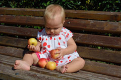 Ein nettes 11-Monats-Baby mit vier Äpfeln Lizenzfreies Stockbild
