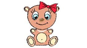 Ein nettes, schönes, Braunbärmädchen mit einem Großkopf und blauen Augen in einer Bogen- und Perlenhalskette auf einem weißen Hin lizenzfreie abbildung