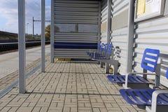 Ein neuer Bahnhof stockbild