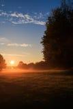 Ein neuer Tag - Sonnenaufgang über städtischem Park Stockbilder