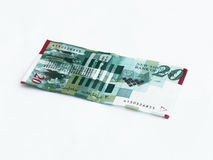Ein neuer Typ Banknote wert 20 israelische Schekel lokalisiert auf einem weißen Hintergrund Lizenzfreie Stockfotos