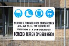 Ein niederländisches Zeichen, das sagt 'keinen Eintritt' Stockfotografie