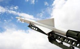 Ein Nike Ajax Flugkörper und eine Abschussrampe stockbild