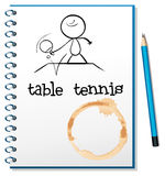 Ein Notizbuch mit einer Skizze einer Person, die Tischtennis spielt Stockbilder