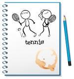 Ein Notizbuch mit einer Skizze eines Jungen und des Mädchens, die Tennis spielen Lizenzfreies Stockfoto