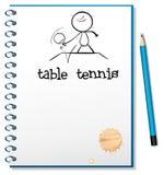 Ein Notizbuch mit einer Skizze eines Tischtennisspielers Stockfotografie