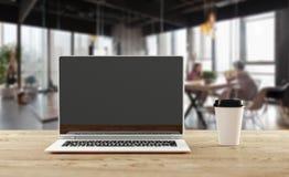 Ein Notizbuch mit Kaffeetasse, Modell Innenministeriumkonzept Abbildung 3D stockfoto