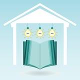 Ein offenes Buch im Haus unter den elektrischen Lampen lizenzfreie abbildung