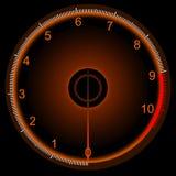 Ein orange beleuchteter Geschwindigkeitsmesser Stockbild
