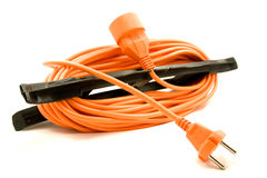 Ein orange Extensionsnetzkabel Stockfotografie