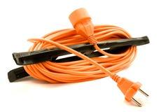 Ein orange Extensionsnetzkabel stockfotografie