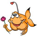Ein orange Fisch der Liebe lokalisiert auf weißem Hintergrund Lizenzfreie Stockfotos