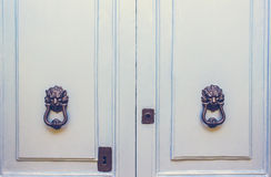 Ein Paar altes Metall Lion Head Knockers auf hellblauen Türen stockbild
