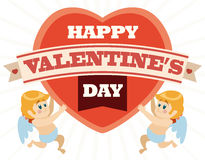 Ein Paar Amoren halten ein Herz mit Valentinstag-Mitteilung, Vektor-Illustration Stockfotos