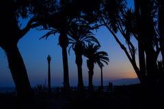Ein Paar, das auf einer Promenade an einem späten Abend steht, umgab wi Lizenzfreies Stockbild