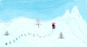 Ein Paar, das auf schneebedeckte Gebirgsillustration schlendert stockbild