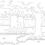 Ein paar Hasen auf der Bank bewundern den Sonnenuntergang Bunte grafische Abbildung Stockbilder