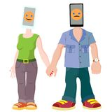 Ein Paar junge Leute mit Geräten Mann und Frau mit Telefon anstelle der Ziele Die Telefone für sie sind die die meisten Stockbild