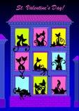 Ein paar Katzen, die auf den Fenstern sitzen. Lizenzfreie Stockfotografie