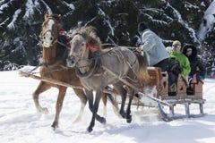 Ein Paar Pferde vorgespannt zu einem Lastwagen, Spaßleute in einem Bergdorf im Schnee lizenzfreies stockfoto