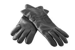 Ein Paar schwarze Handschuhe lizenzfreie stockbilder