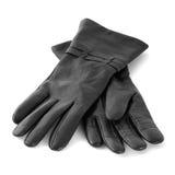 Ein Paar schwarze Handschuhe stockbild