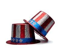 Ein Paar von funkelndem 4. der Juli-Hüte Stockfotografie
