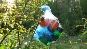 Ein Paket des Plastikabfalls im Wald hängend an einem Baumast, Nahaufnahme, Naturverschmutzung durch den Abfall, sonnig stock video
