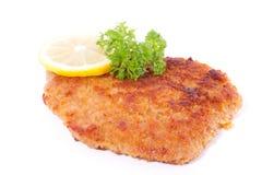 Ein panierter Wiener Würstchen Schnitzel Stockbilder