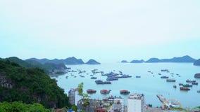 Ein Panorama einer schönen Bucht in Vietnam Panoramische Landschaftsansicht von Cat Ba City von Cat Ba Island, Vietnam Cat Ba Kat stock video