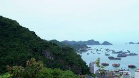 Ein Panorama einer schönen Bucht in Vietnam Viele traditionellen Boote kostet im Golf in der Insel panoramisch stock video