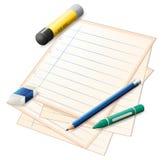 Ein Papier mit einem Bleistift, ein Zeichenstift, ein Radiergummi und ein Kleber haften lizenzfreie abbildung