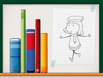 Ein Papier mit einer Zeichnung eines Mädchens neben den Büchern am Regal vektor abbildung