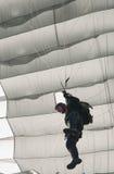 Ein parachuter, das an Zagreb-Flugschau 2010 durchführt Stockfotografie
