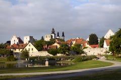 Ein Park in der alten Stadt Stockbild